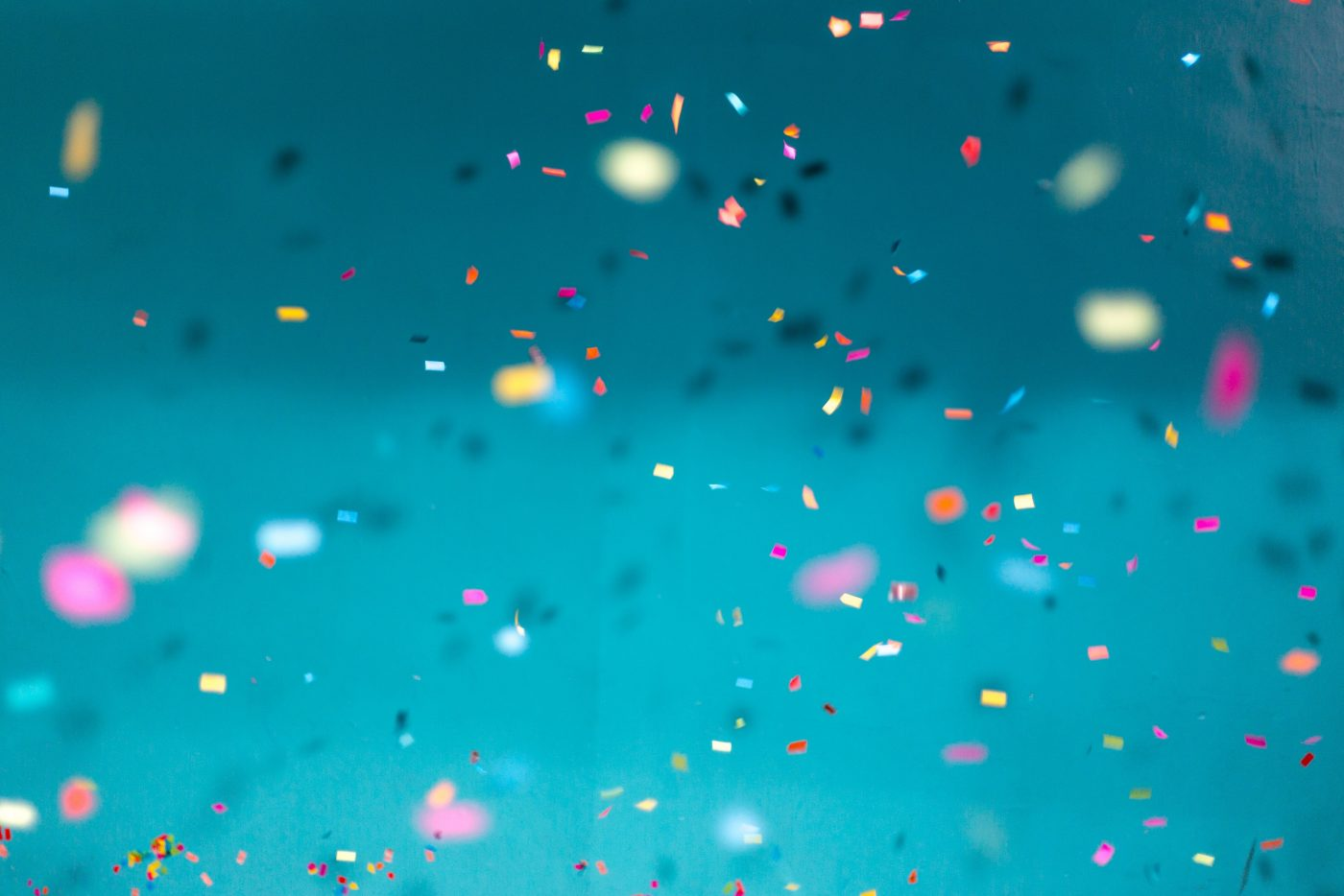 Colorful confetti falling