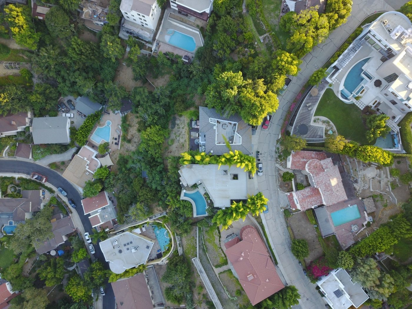 Aerial of neighborhood homes