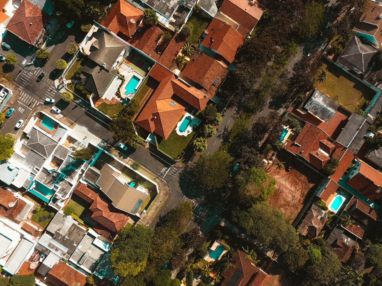 Aerial view of neighborhood homes
